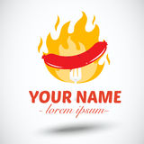 Hotdog with fire.banner  Stock Images