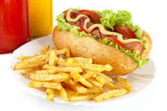 Hotdog with french fries on a plate on white Stock Images