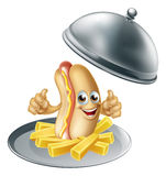 Hotdog and Fries Cartoon Stock Images