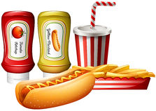 Hotdog and fries with two kind of sauces Royalty Free Stock Images