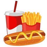 Hotdog, Frieten en soda Royalty-vrije Stock Afbeelding