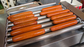Hotdog on grill. Hotdog on the electric grill stock photography