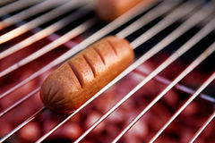 Hotdog on Grill Stock Photos