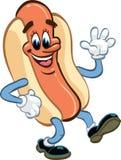 Hotdog, het lopen en het golven Stock Afbeeldingen