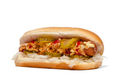 Hotdog/Hot Dog. Side-view  on white Stock Image