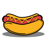 Hotdog. Illustrator of hotdog with sausage Royalty Free Stock Images