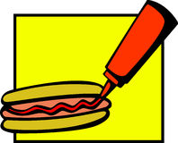 Hotdog with ketchup bottle vector illustration. Vector illustration of a hotdog with a ketchup bottle Royalty Free Stock Photo