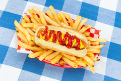 Hotdog with ketchup and mustard Royalty Free Stock Image