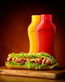 Hotdog with ketchup and mustard Stock Image