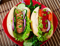 Hotdog with ketchup, mustard, lettuce and vegetables Stock Photo