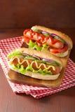 Hotdog with ketchup mustard and vegetables Royalty Free Stock Photos