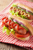 Hotdog with ketchup mustard and vegetables Royalty Free Stock Images