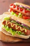 Hotdog with ketchup mustard and vegetables Stock Photos