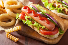 Hotdog with ketchup mustard vegetables and french fries Royalty Free Stock Photography