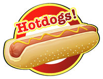 A hotdog label. Illustration of a hotdog label on a white background Stock Images