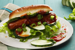 Hotdog with lettuce and cucumber closeup Stock Photography