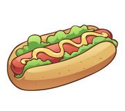 Hotdog with lettuce and mustard Royalty Free Stock Photo