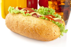 Hotdog with lettuce,tomatoes and cucumber on white background Stock Image