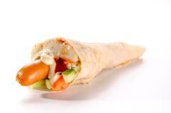 Hotdog with mashed potatoes Stock Image