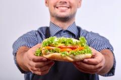 Hotdog med korven och den nya tomaten Gatamat Arkivbilder