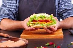 Hotdog med korven och den nya tomaten Gatamat Royaltyfri Foto