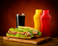 Hotdog menu with cola drink Royalty Free Stock Images