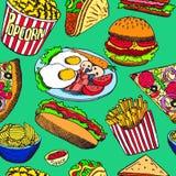 Hotdog met één worst, hamburger, sandwich, taco's, popcorn, spaanders, frieten, pizza met salami, bacon en eieren op plaat stock illustratie