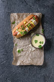 Hotdog met kaassaus en mosterd Stock Afbeeldingen