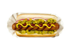 Hotdog met Mosterd Stock Foto's