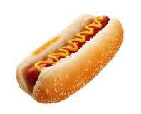 Hotdog met Mosterd Stock Afbeeldingen