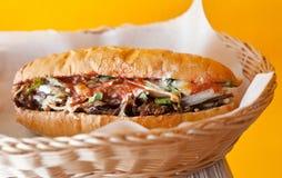 Hotdog mit Fleisch und Gemüse Lizenzfreie Stockbilder