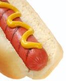 Hotdog mit Senf Stockfotografie