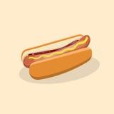 Hotdog mit Senf und Ketschup Stockfoto