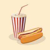 Hotdog mit Soda in einer Papierschale Stockfotos