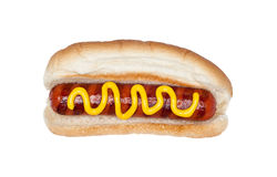 Hotdog with mustard Royalty Free Stock Photos