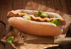 Hotdog with mustard Stock Images