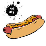 Hotdog with mustard. Fast food sausage with mustard on white background vector illustration royalty free illustration