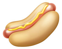 Hotdog and Mustard Illustration Stock Photos