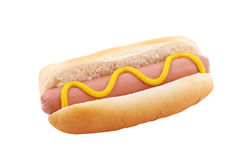 Hotdog with mustard isolated Royalty Free Stock Image