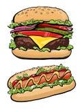 Hotdog- och hamburgareillustrationsnabbmat, royaltyfri illustrationer