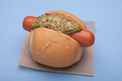 Hotdog with pesto Stock Photography