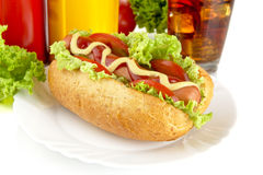 Hotdog on plate with french fries with cola Stock Photos