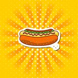 Classic colored hot dog on a yellow pop background. Fastfood meal.Zine art. Vector illustration royalty free illustration