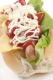 Hotdog with potato chips Stock Image
