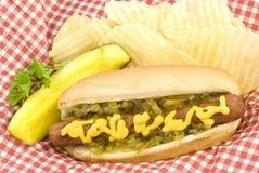 Hotdog Potato Chips and Pickle Stock Photo