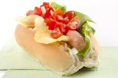 Hotdog with potato chips and tomato relish Stock Photos