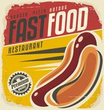 Hotdog retro poster design royalty free illustration
