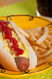 Hotdog sandwich with french fries Stock Images
