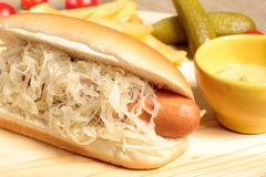 Hotdog with sauerkraut Stock Photos