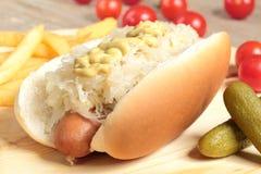 Hotdog with sauerkraut Royalty Free Stock Image